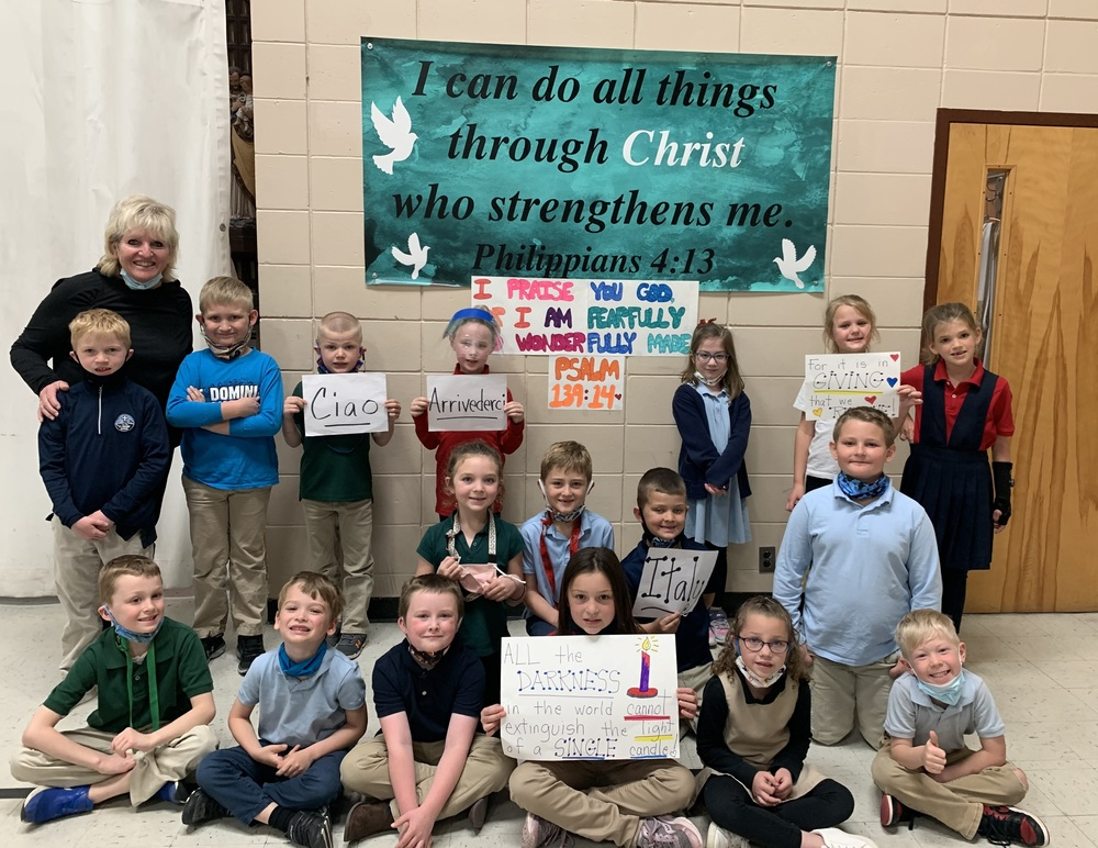 Parent Newsletter - April 16, 2021 - First Graders Experience Holy Moments, Donna Richmiller Honored as Seton Finalist, School Yard Cleanup on Saturday, Girl Scouts Care for Our Plants